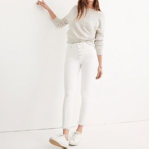 """Madewell 10"""" High Rise Skinny Crop Jeans White 26"""